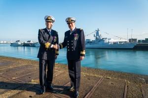 L'amiral Wim Robberecht et l'amiral Georges Heeren (photo Défense belge)