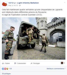 L'armée belge a été réquisitionnée pour suppléer les gardiens de prison au mois de mai dernier.